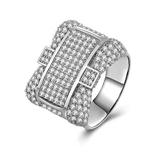 Daesar Silberring Herren Ring Silber Trauring Benutzerdefinierte Ring Kreuz Strass Ring Größe:57 (18.1)