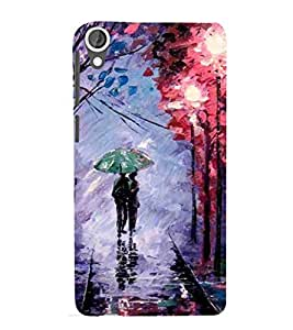 For HTC Desire 820 :: HTC Desire 820 Dual Sim :: HTC Desire 820S Dual Sim :: HTC Desire 820Q Dual Sim :: HTC Desire 820G+ Dual Sim couple, green umbrella, colorful wallpaper Designer Printed High Quality Smooth Matte Protective Mobile Case Back Pouch Cover by Paresha