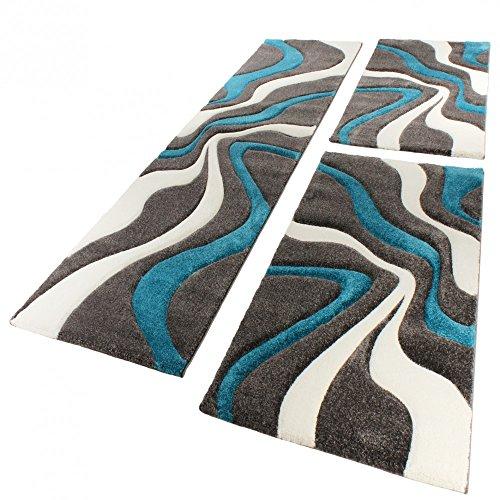 Bettumrandung Läufer Teppich Muster Modern Türkis Grau Weiss Läuferset 3 Tlg., Grösse:2mal 80x150 1mal 80x300