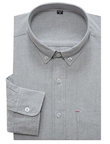 Hemd Herren Weit Kurzarm Freizeit Lässigkeit Freizeit Shirt Weiss Blau Rosa Grau M-7XL Grau