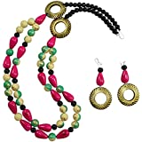 Fashionvalley Designer Wooden Beads Necklace & Earring for Women & Girls