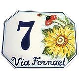 CERAMICHE D'ARTE PARRINI- künstlerische Italienisch Keramik personalisierte 15x12 Keramik Hausnummer Dekoration Sonnenblumen und Mohn Hand gemacht in Italien Toskana