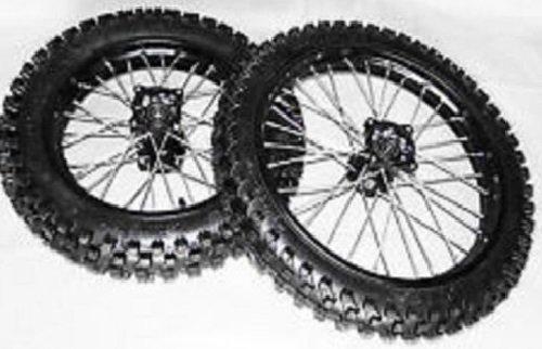 Dirtbike Cross Pit Bike 125ccm Reifen Alu Felgen 14/12 Zoll SET schwarz Eloxiert