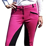Unicorn Equestrian Ladies Two Tone Jodhpurs Self Seat & Knee Patch (Pink / Black, 12 | Waist 30 inch)