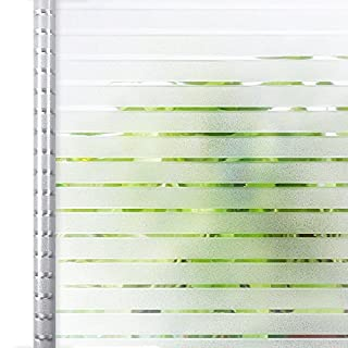 Homein® Privacy Frosted Window Film White Stripe Pattern 44.5x150CM, Self Adhesive Glass Frosting Film Static Cling Anti UV Reusable Opaque Blackout Blinds Vinyl Sticker Door Cover for Bedroom Office