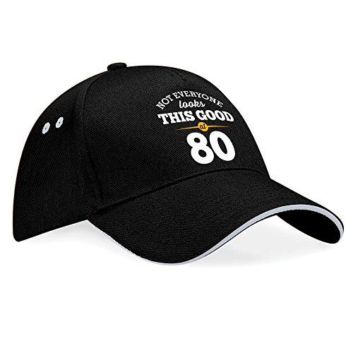 """Cappellino con visiera da baseball per 80° compleanno con scritta """"still looking good at 80"""", regalo di compleanno per gli 80 anni, regalo di compleanno per 80 anni per uomini, regalo di compleanno per 80 anni per donne, compleanno anno 1936 taglia unica black (grey trim)"""