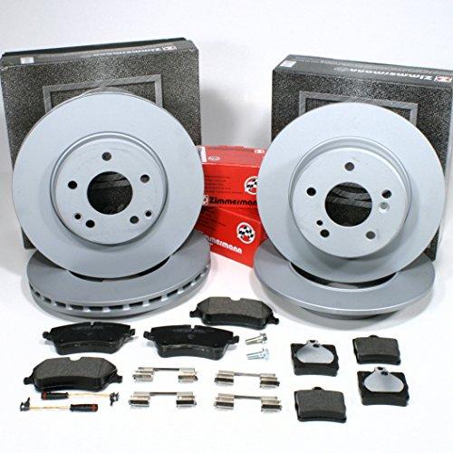 Zimmermann Bremsscheiben Coat Z/Bremsen + Bremsbeläge + Sensoren für vorne + hinten