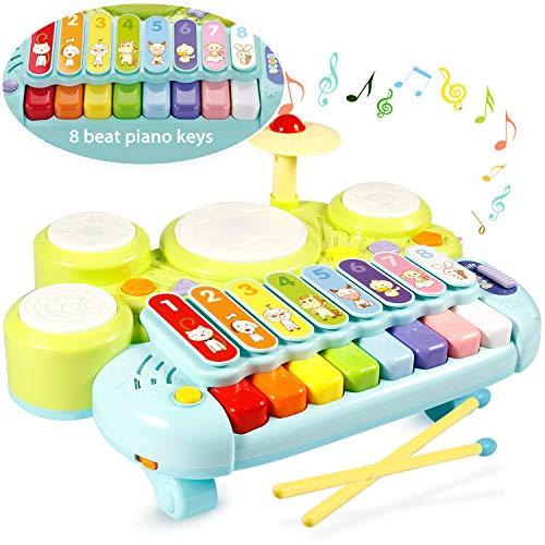 Ohuhu Xilofono Giocattolo di Musica sul Tavolo Giocattoli multifunzionali per Bambini Set per Batteria, Xilofono Set di Insegnamento Elettronico Giocattolo per Bambini Regalo per Natale o Compleanno
