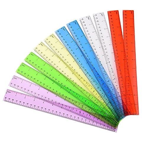Outus Règle en Plastique Règle Transparente Règle de Bureau Règle