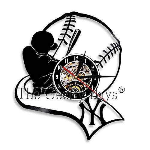 TTZSE Baseball Team Player 3D Wanduhr Sport Thema Vinyl Uhr Wand Kunst Dekor Geschenk für Baseball-Liebhaber -
