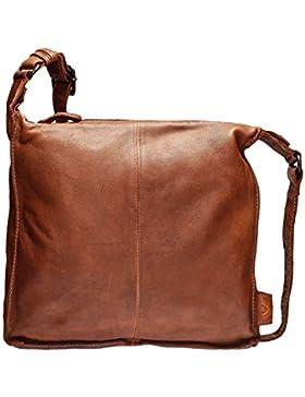 VOi Damen Beuteltasche aus Leder Umhängetasche 21088 Schultertasche Crossover Bag genarbtes Leder in Zimt Braun