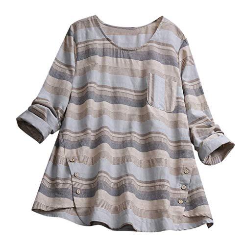 81b4504f Linkay Femme Chemisier Femme Manche Courte Été Tops Casual Plus Size Stripe  Linen Lâche Tunique Bouton