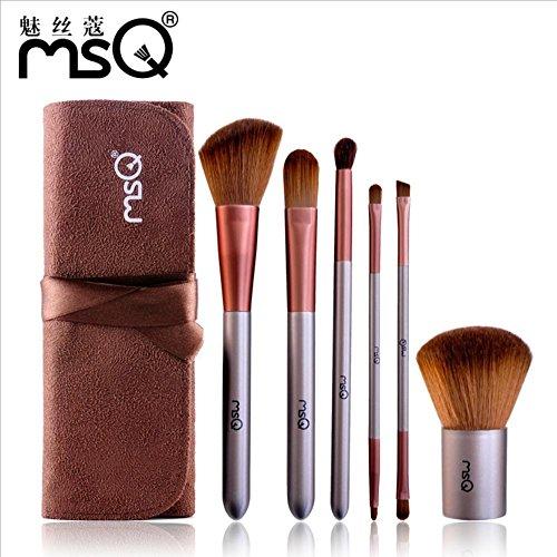 MSQ 6pcs Set de brosses de maquillage Chien de chèvre Brosse à la poudre Brosse correcteur Brosse à paupières Brosse à lèvres Brosse à oeil Brosse Maquillage Kit d'outils Brosses cosmétiques