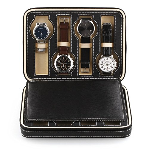 Amzdeal-Watch-Storage-Display-Box-Leather-Case-Faux-Storage-Case-8-Grids