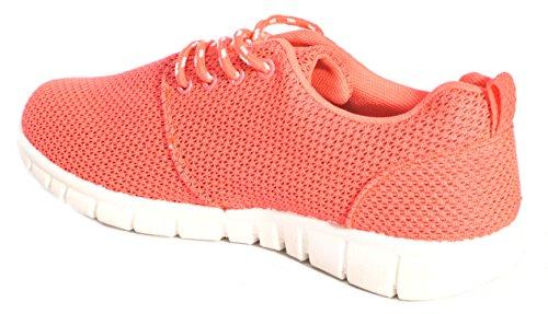 Damen Sport Running Go Walk Mesh Gym Leichtes Trainer UK Größen Rose