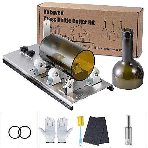 Glasschneider, DIY Glasflaschenschneider Einstellbare 5 Räder Glasschneider Bottle Cutter Kit, Metall Glasflasche Schneidemaschine für Handwerk Weinflaschen Haushalt Kreative Dekorationen