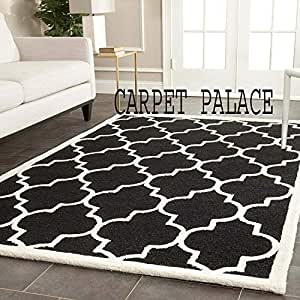 Carpet palace Handwoven Pure Wollen Modern Carpets Loop/Cut Pile Collection for Bedroom-Drawing Room-Floor-Dining Hall (7x10 Feet) Color Black & White