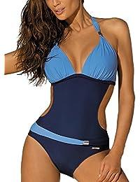 LATH.PIN Costumi da Bagno Interi Donna Trikini Costume da Mare Spiaggia Piscina Sexy Bohemian in Pizzo Bikini Swimsuit One Piece Coordinati Beachwear