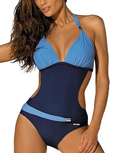 Costumi da Bagno Interi Donna Trikini Costume da Mare Spiaggia Piscina Sexy Bohemian in Pizzo Bikini Swimsuit One Piece Coordinati Beachwear (S, Cielo Blu)