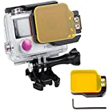 Lens Filter For GoPro Hero 4/3+ Flip Style Filter Metal Frame Protector Sports Cameras Diving Lens Filter Scuba And Snorkel Accessories Waterproof For GoPro Hero 4 3+ By HAIFT (Black+Yellow Filter)