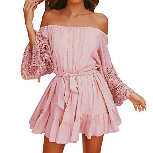 Mode Damen Sommer Spitze Schulterfrei Gürtel Abend Party Strand Minikleid Hohle Lautsprecherhülse Kleider Mit Gürtel Kleid Pink (XL, Rosa) (1920er Pink Flapper Kostüme)
