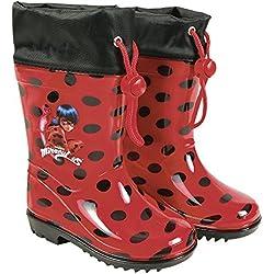 PERLETTI Botas de Agua Miraculous Ladybug - Botines Impermeables para Niña con Suela Antideslizante y Cierre con Cordón - Rojo y Lunares Negros (32/33 EU)