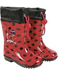 PERLETTI Stivaletti Pioggia Miraculous Ladybug - Stivali Impermeabili Bambina Lady Bug - PVC con Scuola Antiscivolo e Chiusura a Coulisse - Rossi a Pois Neri