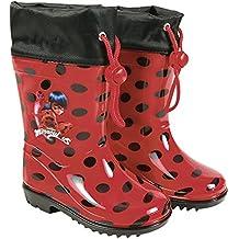 8239458a44e PERLETTI Botas de Agua Miraculous Ladybug - Botines Impermeables para Niña  Lady Bug con Suela Antideslizante