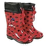 PERLETTI Botas de Agua Miraculous Ladybug - Botines Impermeables para Niña Lady Bug con Suela Antideslizante y Cierre con Cordón - Rojo y Lunares Negros (26/27 EU)