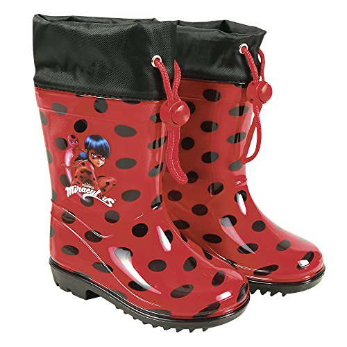 PERLETTI Miraculous Rain Boots for Kids - Ladybug Waterproof Wellies with Anti Slip Outsole - Colored Wellington for Girls with Lady Bug - Red with Black Polka Dots