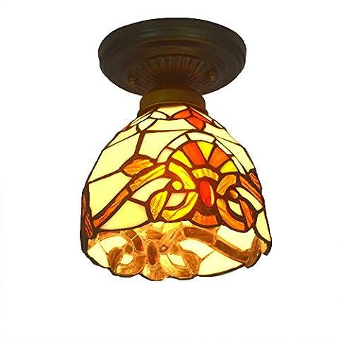 Vintage - stil, decke veranda licht für villa mit buntglas schatten Nuomeiju® NMJ003 (Gfci Steckdose)