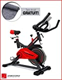 Sportstech SX100 professionnelle cycle intérieur avec volant d'inertie de 13 KG , support de bras rembourré, siège confortable avec ressort suspendu - Speed Bike avec un système à faible bruit - jusqu'à 120 KG