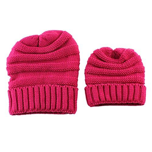 45f5a51c0ee 27% OFF on Generic Khaki   2Pcs Women Mother Baby Child Winter Autumn Warm Knit  Beanie Hat Crochet Cap on Amazon