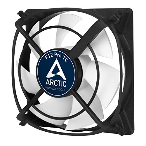 Arctic F12 Pro TC - Temperaturgesteuerter 120 mm Gehäuselüfter mit Vibrationsabsorption | Temperatursensor reguliert RPM | patentierte Lüfterhalter