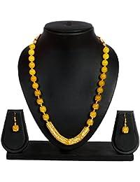 Crazance Yellow Beads Jewellery Set For Women