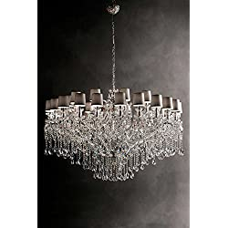 masiero Candelabros Aqaba Plata A Mano, Made in Italy, Made with Crystal garlands