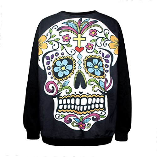 YICHUN Femme Tops T-Shirts Tee-Shirt Léger Sweat-shirts Sweaters Pulls Blouse Pull-Overs Jumpers Tête de Mort 14#