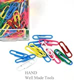 Colour Paperclips, Vinyl Coated Wire Paper Clips Length 50mm Assorted [Pack of 100]