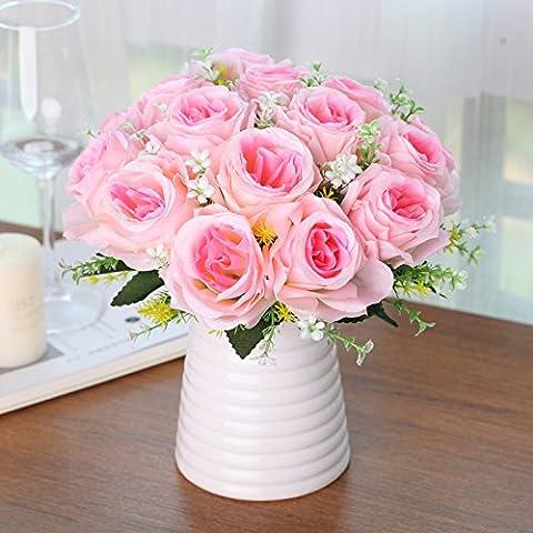 XHOPOS HOME Künstliche Blumen Wohnzimmer Schlafzimmer Moderne Rose Wohnzimmer Topfpflanzen Rosa Home für Valentinstag Geschenke Party Hochzeit Bouquet Dekoration Blumen