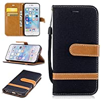 For iPhone 6 Case,iPhone 6S Case [with Free Screen Protector], Qimmortal(TM) Premium Soft PU Leather Cowboy Cloth Wallet Cover Case with [Kickstand] Credit Card ID Slot Holder Magnetic Closure Design Folio Flip Protective Slim Skin Cover For iPhone 6/6S(B