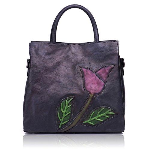 APHISONUK Rind Leder handbemalte Ledertasche Damen Handtasche Handgefertigte Taschen Schultertasche für Damen - Geschenkkarton - Importierte Designer-taschen