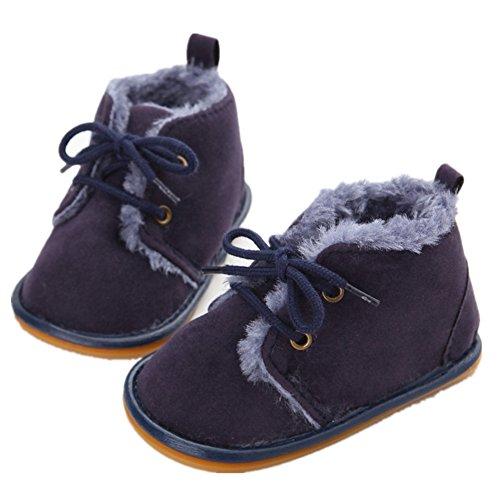 GenialES Stivaletti Invernali Bambino Infanzia Scarpe Primi Passi Cotone Morbide Camminare Neonato per 0-12 Mesi