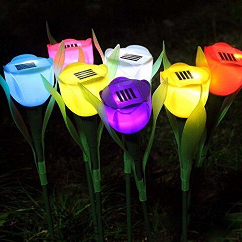 Gogogo 1 X Tulpe Stil Solar LED-Licht Pfad Außenleuchte Hof Garten Rasen Party Hochzeit Beleuchtung Dekor (Gelb) -