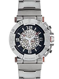 Detomaso Machineer XXL - Reloj de cuarzo para hombres, con correa de acero inoxidable de color plateado, esfera negra de DETOMASO