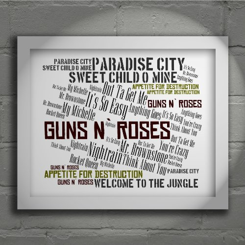 Guns N Roses - Appetite for Destruction - Signed & Numbered Limited Edition Typography Wall Art Print - Song Lyrics Mini Poster