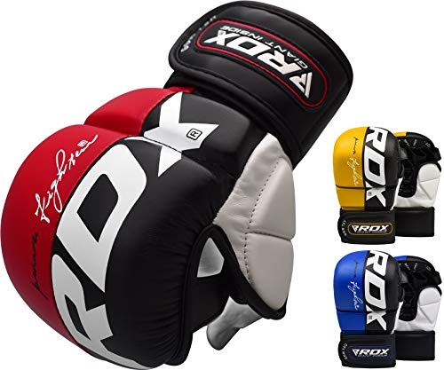 RDX MMA Handschuhe Profi UFC Kampfsport Sparring Freefight Sandsack Trainingshandschuhe Grappling Gloves (XL, Rot)