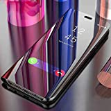 MOBICLONICS®Luxury Clear View Electroplate Mirror Protective Leather Flip Cover for Oppo A3s-(Black)