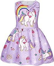 AmzBarley Unicorno Festa Vestito da Principessa Stellato Senza Maniche Abiti per Ragazza Bambina Partito Vesti