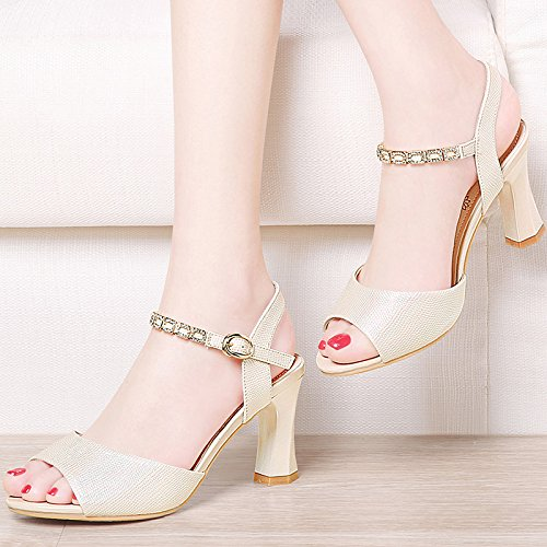 Khskx - The Golden 7.5cm Sandals Women Con Zapatos Con Hebilla Heel Girls Con Todo Lo Que Combina Con La Boca De Pescado Para Zapatos, Thirty Thirty Treinta Y Nueve