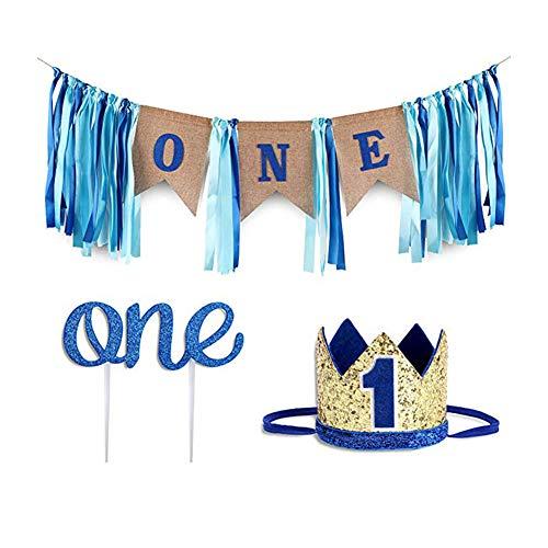 tag deko 1 Set Kuchen Topper +Banner + Hut Baby Geburtstag 1 Party deko Jahrestag deko Blau 1 Set. ()